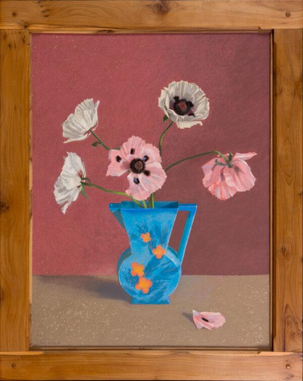 MORLEY John (b.1942) - 'Oriental Poppies in a blue jug'.