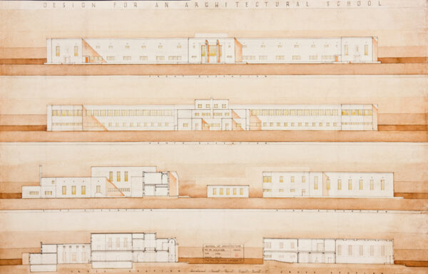 MORRIS Noel Seton (1911-1985) - Twenty six designs by an architect who was schooled at the Regent Street Polytechnic School of Architecture from 1929 – 1934 and at the Royal Academy Schools from 1934 – 193(?7).