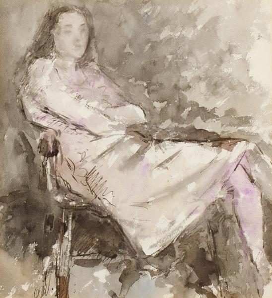 MORTON Constance (fl.1930s) - Seated girl.