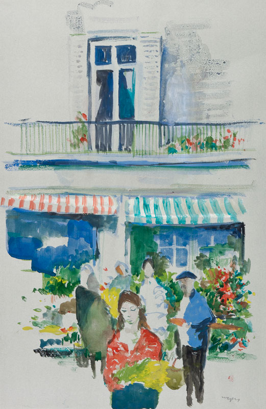 MOZLEY Charles (1914-1991) - French flower stall.