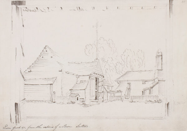 NATTES Jean-Caude (c.1765-1835) - Essex, 'Suttons, Farm Yard etc from the interior of a Barn'.
