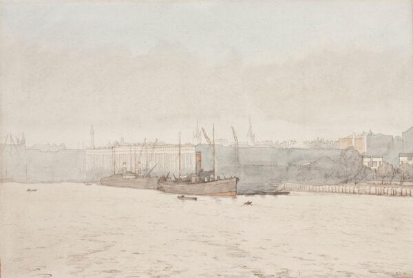 NEWTON Algernon R.A. (1880-1968) - 'Sunshine through fog – from Tower Bridge'.