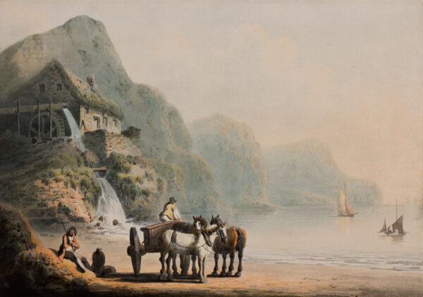 NICHOLSON Francis (1753-1844) (Family of) - Coastal scene.