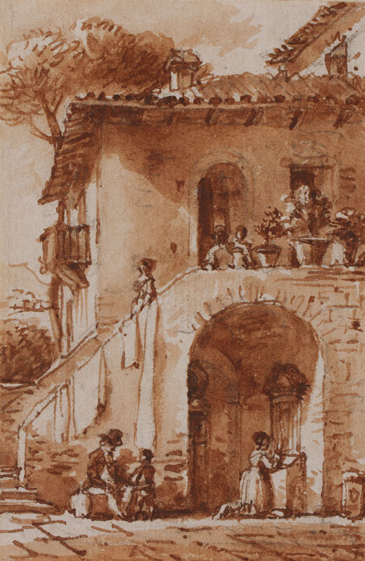 NICOLLE Victor Jean (1754-1826) - Staircase courtyard, Rome.