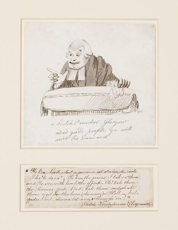 NIXON John (c.1750-1818) - 'A Scotch Preacher Glasgow / adad yude peeple ye will / awe bee Damned' (sic).
