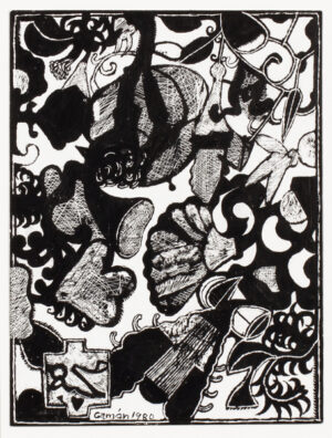 OMER Hussein Gaman. (Sudanese fl.1965-1980) - Scraperboard drawing with some ink.