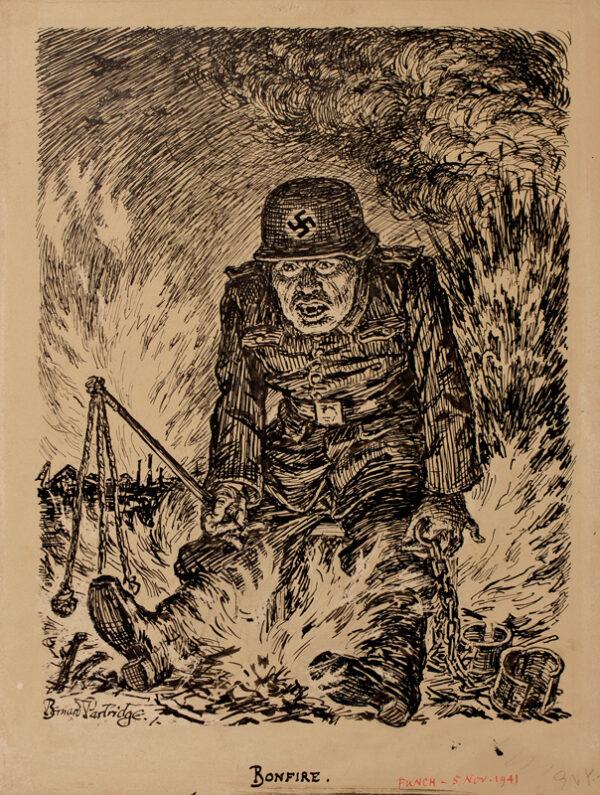 PARTRIDGE Sir Bernard (1861-1945) - Verso: 'Bonfire'.