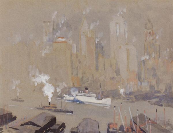 PENNELL Joseph R.E. (1858-1926) - 'Fruit Boat', NY harbour.