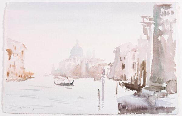 PETLEY Roy (b.1950) - Venice in mist; Accademia Bridge toward Santa Maria della Salute.