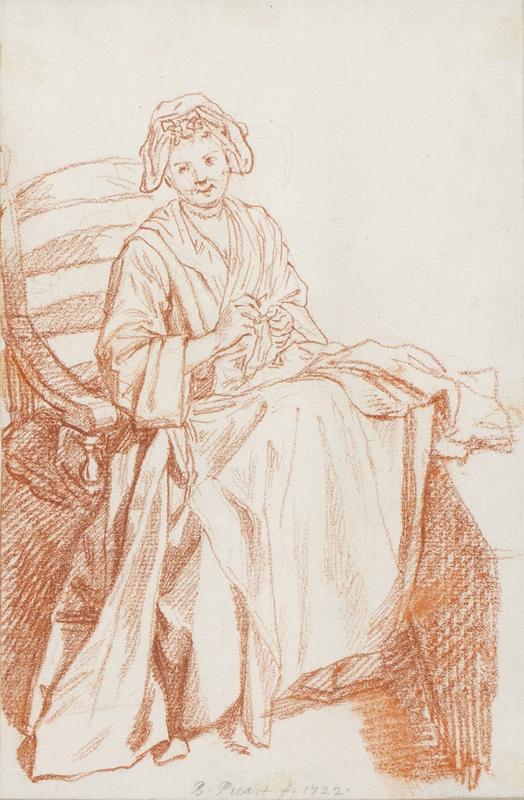 PICART Bernard (1673-1733) - Seated woman sewing.