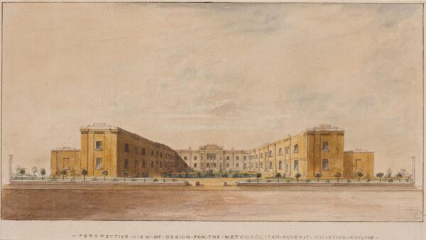 PINK Edmund (fl.1819-1836) - 'Perspective view of design for the Metropolitan Benefit Societies Asylum'.