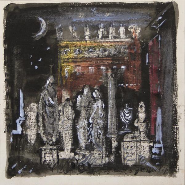 PIPER John C.H. (1903-1992) - Moonlit graveyard scene for 'Don Giovanni'.