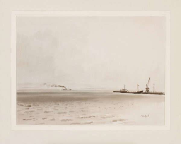 PITCHFORTH Rowland Vivian R.A. R.W.S. (1895-1982) - Thames estuary on a misty day.