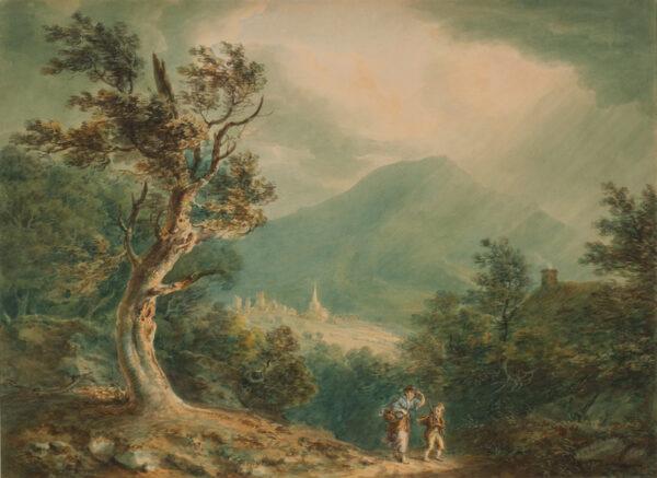 POCOCK Nicholas O.W.S. (1740-1821) - Travellers beneath a storm.