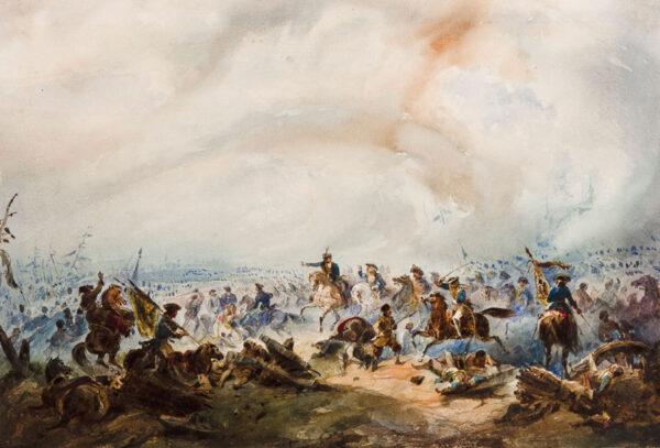 POGGI Cesare (1803-1859) - 'Peter Ist at the battle of Poltava', 1709.