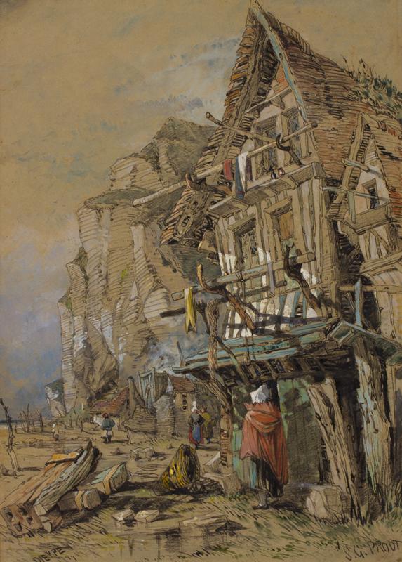 PROUT Samuel Gillespie (1822-1911) - 'Dieppe' fishermen's shacks.