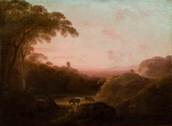 RATHBONE James (1750-1807) - Cattle watering at dusk.