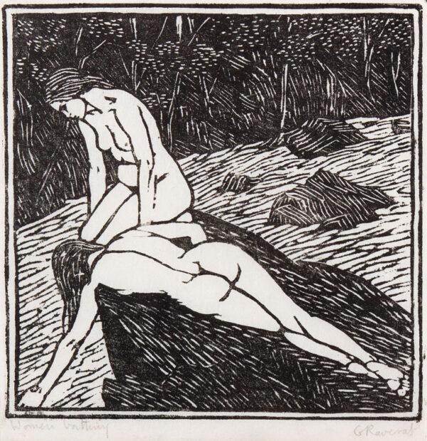 RAVERAT Gwen S.W.E. (1885-1957) - 'Women Bathing' ('Baigneuses').