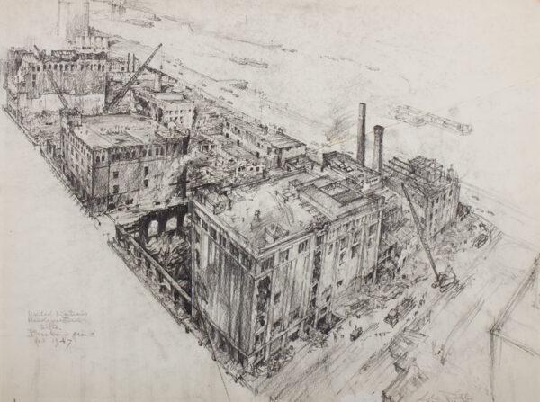 RETHI, Lili (1894-1969) - 'New York/United Nations Headquarters Site/Breaking Ground'.