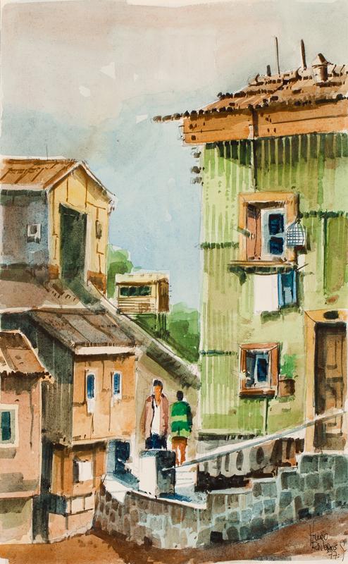 RIVEROS GOMEZ Hugo (Chilean d.1981) - Chilean street scene.