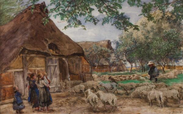 RODECK Carl (1841-1909) - A North German farm yard.