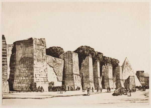 ROSENBERG Louis Conrad (1890-1983) - 'The Aurelian Wall and Pyramid of Cestius'.