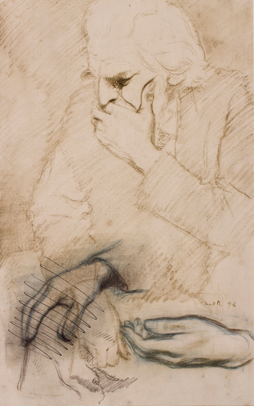 ROTHENSTEIN Sir William N.E.A.C. (1872-1945) - Man deep in thought, study of hands.