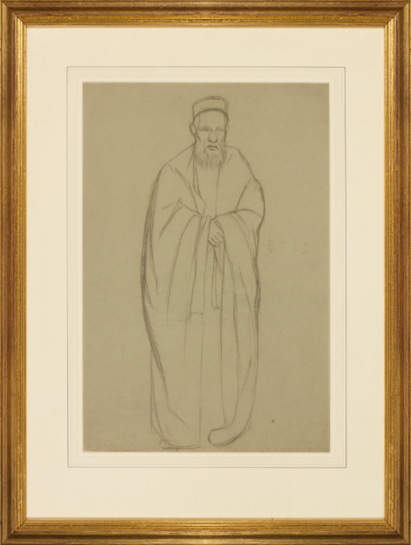 ROTHENSTEIN Sir William N.E.A.C. (1872-1945) - A Brick Lane Rabbi; Study related to his  Jewish mourning in a Synagogue, 1904-6 (Tate).