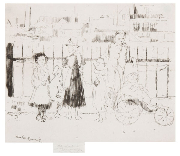 ROUSSEL Theodore Casimir (1847-1926) - 'Events over the Railings, Chelsea Embankment' (Hausberg 22).