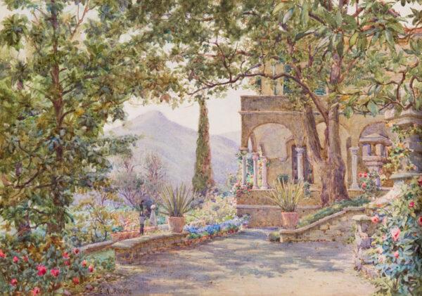 ROWE Ernest Arthur (1863-1942) - 'The Loggia, Villa Novella', an Italian garden, possibly near Lucca.