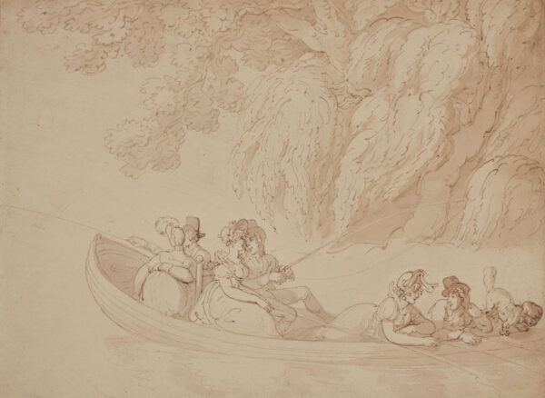 ROWLANDSON Thomas (1756-1827) - On the river, possibly the Thames near Twickenham.