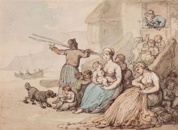 ROWLANDSON Thomas (1756-1827) - A fisherman's family.