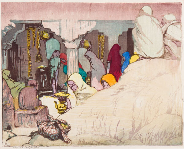 ROYDS Mabel (1874-1941) - 'The Shrine' Woodcut printed in colours.
