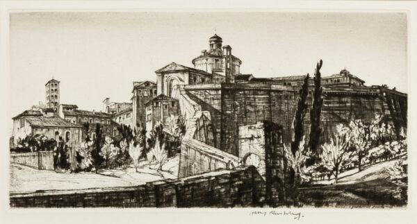 RUSHBURY Sir Henry R.A. R.E. (1889-1968) - 'The Walls of Siena' (JR.