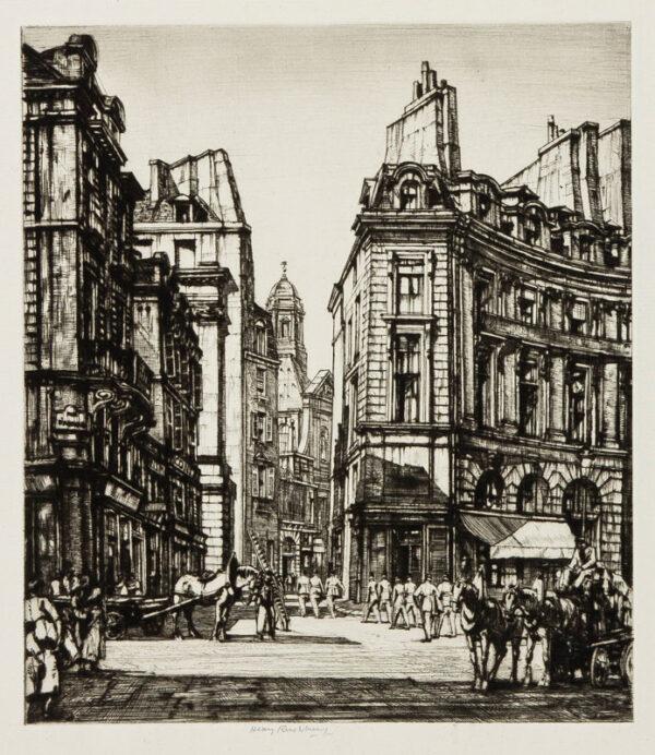 RUSHBURY Sir Henry R.A. R.E. (1889-1968) - 'Place des Victoires, Paris' (JR.