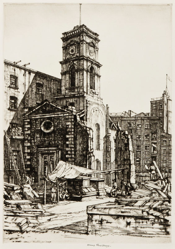 RUSHBURY Sir Henry R.A. R.E. (1889-1968) - 'St Olave's Tooley Street' (JR.