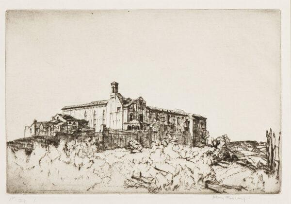 RUSHBURY Sir Henry R.A. R.E. (1889-1968) - 'Sant'Agostino, San Gimignano' (JR.