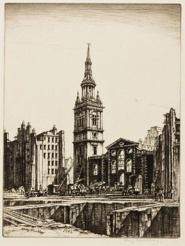 RUSHBURY Sir Henry R.A. R.E. (1889-1968) - 'St Mary-le-Bow' (JR.
