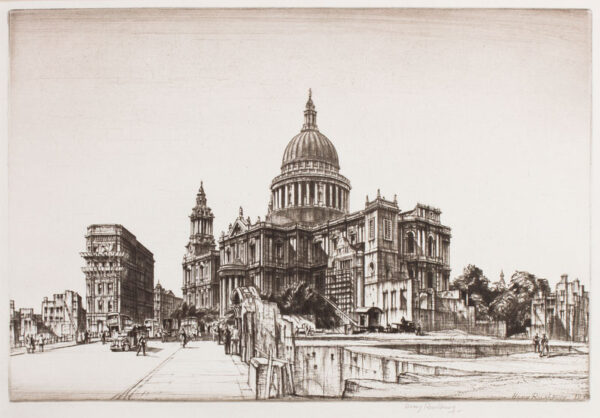 RUSHBURY Sir Henry R.A. R.E. (1889-1968) - 'St Paul's from Cannon Street'.