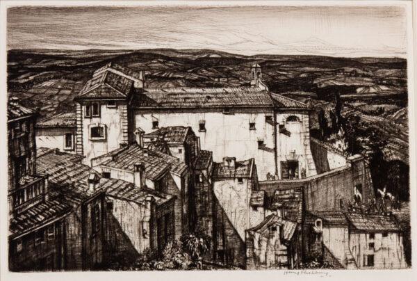 RUSHBURY Sir Henry R.A. R.E. (1889-1968) - 'Carceri, San Gimignano' (JR 51).