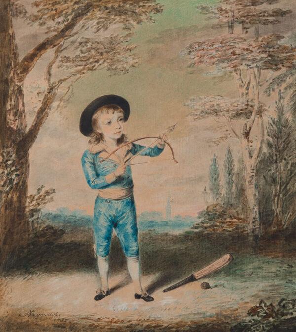 RYMSDYK Andreas Van (1754-1786) - Young boy with bow, arrow, bat and ball.