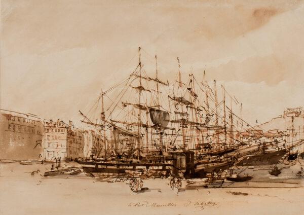 SABATIER Leon Jean (d.1887) - 'Le Port, Marseilles'.