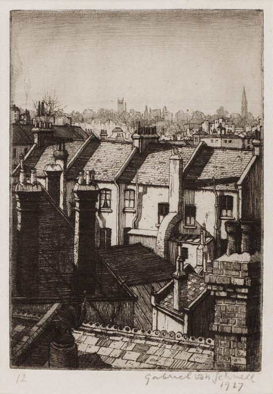 SCHNELL Gabriel van (fl.1920s) - 'Chelsea roof tops.