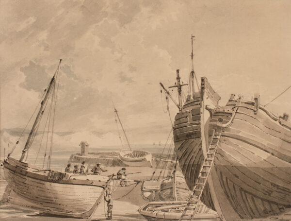 MONRO School. Anon. Circa 1795. - South coast harbour at low tide.