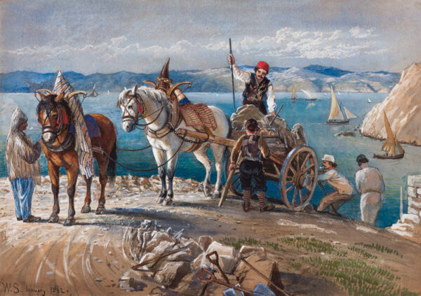 SEVERN Walter (1830-1894) - Road building, possibly the Bosphorus.