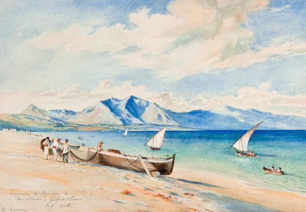 SEVERN Walter (1830-1894) - Serrania di Ronda and 'the lines' (La Linea) from Gibraltar.