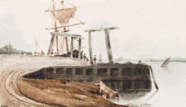 SHEPHERD Thomas Hosmer (1793-1864) - Quay on the Medway.