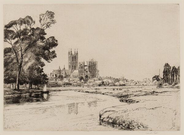 SHORT Sir Frank R.A. P.R.E. (1857-1954) - 'Canterbury from the Meadows'.