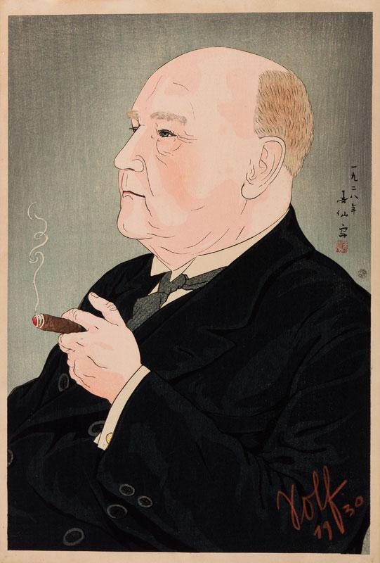 SHUNSEN Natori (1886-1960) - Portrait of Wilhelm Solf (1862-1936) Governor of German Samoa (1900-c.