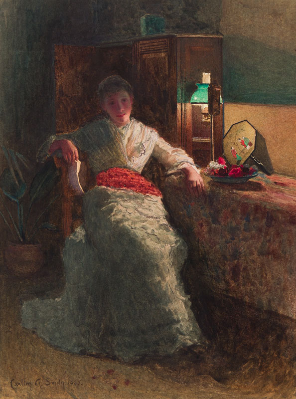 SMITH Carlton Alfred R.I. (1853-1946) - The letter; lamplight.